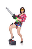 Sexy girl green chainsaw Stock Images