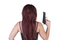 Sexy girl with guns isolated on white background Royalty Free Stock Images