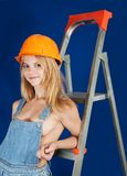 girl in hard hat Royalty Free Stock Photography