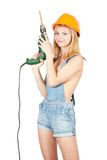 Sexy girl in hardhat with drill Stock Images
