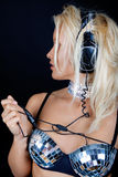 Sexy girl with headphones Stock Photo