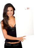 Sexy girl holding a banner add Royalty Free Stock Images