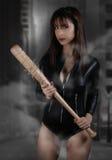 Sexy girl holding a Baseball bat. Book cover design Stock Photography