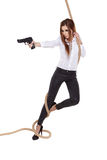 Sexy girl holding  black gun Stock Images