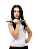 Sexy girl holding the dumbbell Royalty Free Stock Image