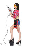 Sexy girl holding electric drill Stock Image