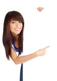 girl holding empty white board Royalty Free Stock Photography