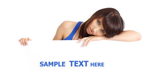 Sexy girl holding empty white board Royalty Free Stock Images