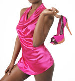 Sexy girl holding fuchsia shoes Royalty Free Stock Photo