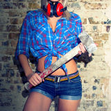 Sexy Girl holding a hammer Stock Image