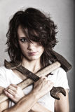girl holding hammer and wrench spanner Stock Image