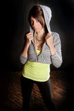 Sexy Girl in Hoodie Royalty Free Stock Images