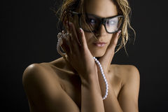 Sexy girl i. A sexy girl in glasses Stock Images