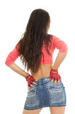 Sexy girl in jeans skirt Royalty Free Stock Photography