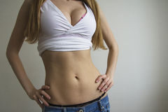 Sexy girl in jeans Royalty Free Stock Image