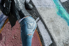 Sexy girl in jeans style on the street Stock Photo