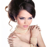 Sexy Girl. Jewelry and Hairstyle. Fashion portrait of beautiful Royalty Free Stock Photography