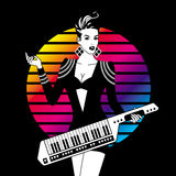Sexy Girl With Keytar. Monochrome Sexy Girl With Keytar On Color Background Stock Images