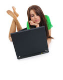 Sexy girl with laptop Royalty Free Stock Image
