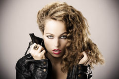 Sexy girl with leather jacket Royalty Free Stock Photo