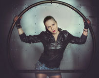 Sexy girl in leather jacket Stock Photos