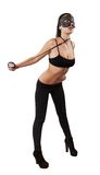 Sexy girl in leather mask on leash Royalty Free Stock Image