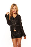 Sexy girl in leather shorts and jacket Royalty Free Stock Image
