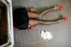 Sexy girl legs in lingerie. Car repairs Stock Photo
