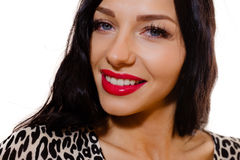 Sexy girl in leopard print top smiling on isolated. Portrait of gorgeous beautiful woman in leopard print top. Sexy girl in red lipstick smiling on isolated Stock Photo