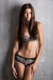 Sexy girl in lingerie with lace brindle, textural on a gray back Royalty Free Stock Photography
