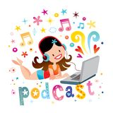 Sexy girl listening music podcast on laptop Stock Photography