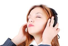 Sexy girl is listening to music Royalty Free Stock Photos