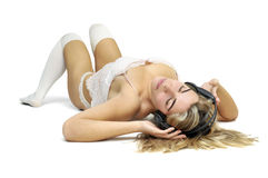 Sexy girl listening to music Royalty Free Stock Photos