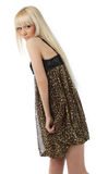 girl with long blond hair in leopard dress Stock Photos