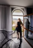 girl with long hair posing in hotel royalty free stock images