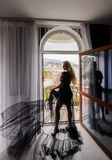 girl with long hair posing in hotel royalty free stock image