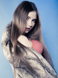 Sexy girl with long hair in red bra underwear and fur coat on blue Stock Image