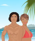 Sexy girl and man on beach Royalty Free Stock Image