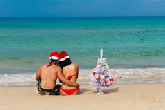 Sexy girl man Santa on a beach fir-tree Stock Photo