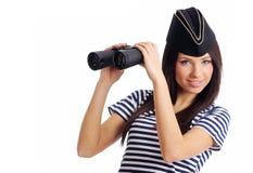 girl in marine uniform holding binocular Royalty Free Stock Photography