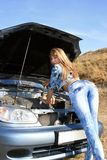 Sexy girl-mechanic Stock Photography