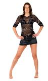 Sexy girl in a mini skirt Royalty Free Stock Photos