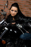 Sexy girl on motorbike Royalty Free Stock Photo