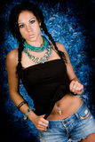 Sexy girl native american indian woman with braids Royalty Free Stock Photos