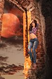 Sexy girl. In night dream Stock Images