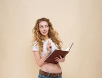 Sexy girl with notebook Stock Photography