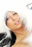 Sexy girl over white fur Stock Images