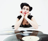Sexy girl with phonography analogue record Royalty Free Stock Photo