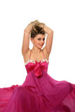 Sexy girl on a pink dress Royalty Free Stock Photos