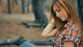 Sexy girl in plaid shirt in the forest pine slow motion stock footage